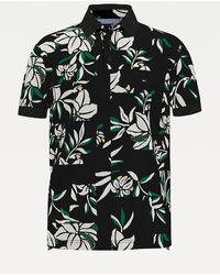 Tommy Hilfiger Polo Met Bloemenprint In Patchworkdesign - Zwart