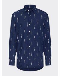 Tommy Hilfiger Slim Fit Overhemd Met Roeierprint - Blauw
