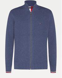 Tommy Hilfiger Cardigan zippé en coton Grande Taille - Bleu
