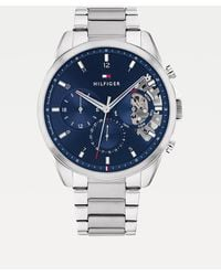 Tommy Hilfiger Stainless Steel Blue Dial Watch - Metallic