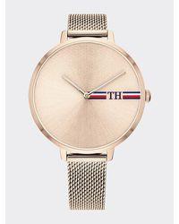 Tommy Hilfiger Roséverguld Horloge Met Monogramprint - Roze
