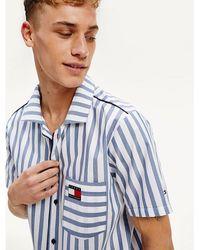 Tommy Hilfiger Gestreept Pyjama-overhemd Met Korte Mouw - Blauw
