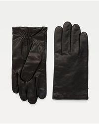 Tommy Hilfiger Gants en cuir à poignets élastiques - Noir
