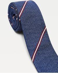 Tommy Hilfiger Cravate rayée en soie - Bleu