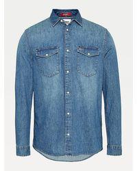 Tommy Hilfiger Denim Overhemd Met Drukknopen Met Parelmoerglans - Blauw