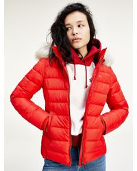 Tommy Hilfiger Faux Fur Trimmed Down Fitted Jacket - Red