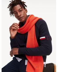 Tommy Hilfiger Baumwoll-Schal mit Kaschmir - Rot