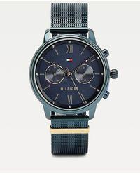 Tommy Hilfiger Blauw Geïoniseerd Horloge Met Monogram