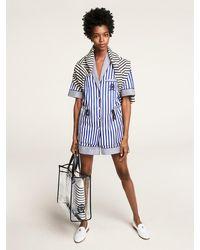 Tommy Hilfiger Gestreept Overhemd In Pyjamastijl Met Geborduurd Embleem - Blauw