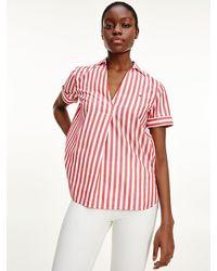 Tommy Hilfiger Stripe Short Sleeve Blouse - Red