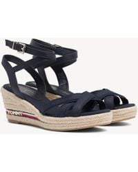 Tommy Hilfiger - Strappy Signature Tape Wedge Heels - Lyst