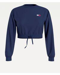 Tommy Hilfiger Cropped Sweatshirt Met Tommy-badge - Blauw