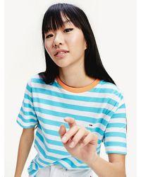 Tommy Hilfiger Boyfriend Fit T-shirt Van Biologisch Katoen - Blauw
