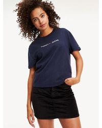 Tommy Hilfiger Cropped T-shirt Van Biologisch Katoen - Blauw