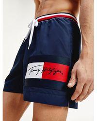 Tommy Hilfiger Medium Lange Zwemshort Met Signature-taille - Blauw