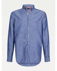 Tommy Hilfiger Slim Fit Overhemd Van Katoen-linnenmix - Blauw