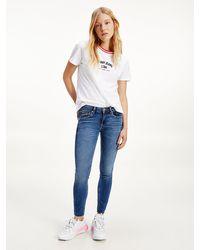 Tommy Hilfiger Scarlett Low Rise Skinny Faded Ankle Jeans - Blue