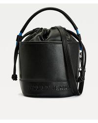 Tommy Hilfiger Contrast Rope Detail Bucket Bag - Black