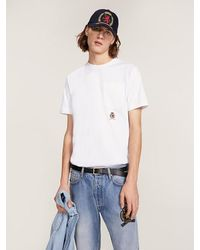 Tommy Hilfiger T-shirt Met Borstzak En Geborduurd Embleem - Wit
