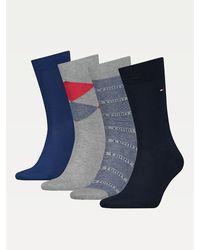 Tommy Hilfiger Set Van 4 Paar Sokken In Cadeaubox - Blauw