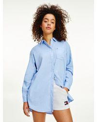 Tommy Hilfiger Lang Relaxed Fit Overhemd Van Linnen-viscose - Blauw