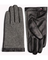Tommy Hilfiger - Herringbone Leather Gloves - Lyst