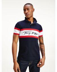Tommy Hilfiger Slim Fit Polo Met Signature-logo - Blauw