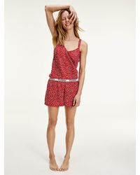 Tommy Hilfiger All Over Print Cami And Shorts Set - Red