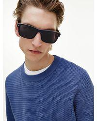 Tommy Hilfiger Rechthoekige Zonnebril Van Acetaat - Blauw