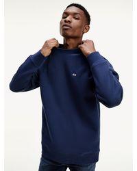 Tommy Hilfiger Classics Fleece Sweatshirt Met Ronde Hals - Blauw