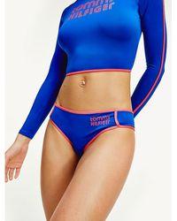 Tommy Hilfiger Retro Hipster Brazilian-bikinibroekje Met Logo - Blauw