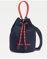 Tommy Hilfiger Colour-blocked Nautical Drawstring Bucket Bag - Blue