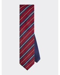 Tommy Hilfiger Cravate rayée en soie - Rouge
