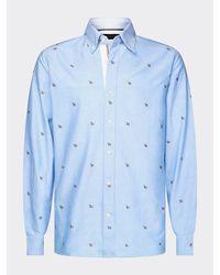 Tommy Hilfiger Overhemd Met Geborduurd Monogram - Blauw