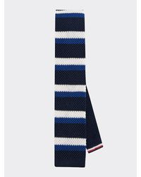 Tommy Hilfiger Cravate en soie maille épaisse - Bleu