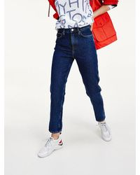 Tommy Hilfiger High Rise Straight Fit Jeans Met Omgeslagen Zomen - Blauw