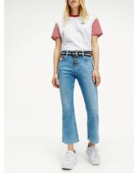 Tommy Hilfiger Katie Crop Flare Jeans Met Onafgewerkte Zoom - Blauw
