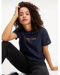 Tommy Hilfiger - Multicolour Logo Cropped T-shirt - Lyst