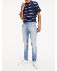 Tommy Hilfiger Slim Fit Denim Jeans Met Toelopende Pijpen - Blauw