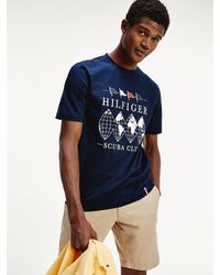 Tommy Hilfiger Relaxed Fit T-shirt Met Scuba Club-logo - Blauw