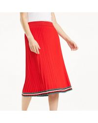 c0d508f2b Tommy Hilfiger 3 4 Length Skirt in Red - Lyst