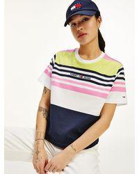 Tommy Hilfiger Gestreept Cropped T-shirt Met Geborduurd Logo - Roze