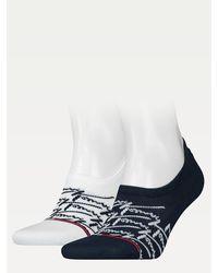 Tommy Hilfiger Set Van 2 Paar Sneakersokken Met Logo - Blauw