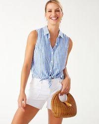 Tommy Bahama Coastalina Cabana Stripe Sleeveless Linen Shirt - Blue