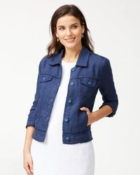 Tommy Bahama Two Palms Linen Raw-edge Jacket - Blue