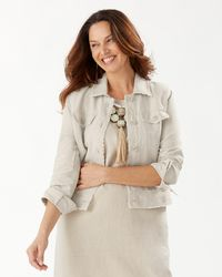 Tommy Bahama Two Palms Linen Raw-edge Jacket - Natural
