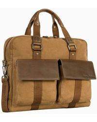 Tommy Bahama Palawan Canvas & Leather Briefcase - Multicolor