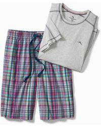 Tommy Bahama Big & Tall Plaid Loungewear Set - Red