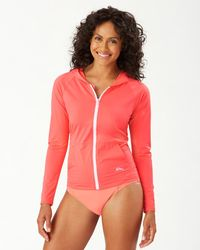 Tommy Bahama Pearl Long-sleeve Hooded Rash Guard With Pockets - Multicolor