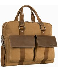 Tommy Bahama Palawan Canvas & Leather Briefcase - Brown